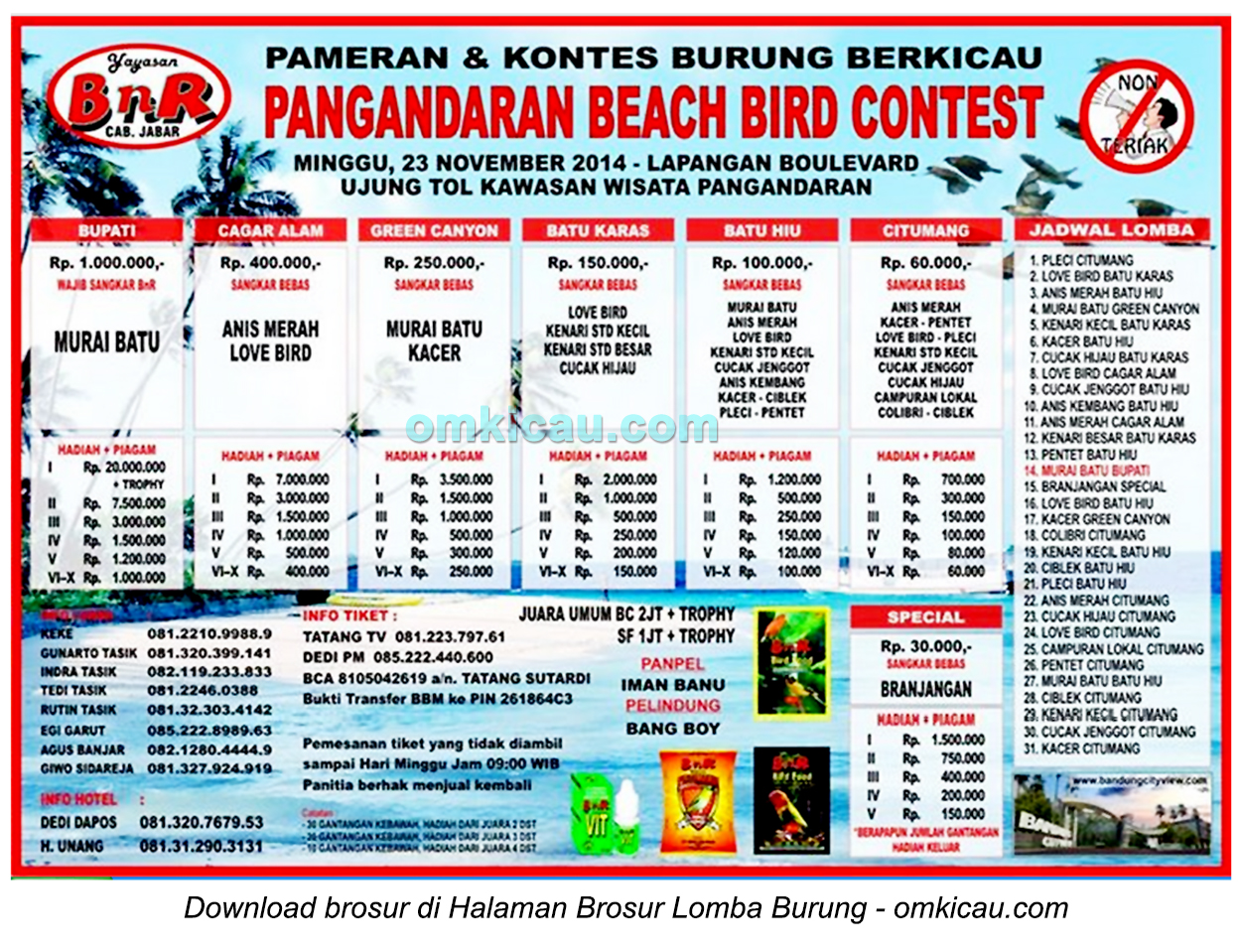 Brosur Lomba Burung Pangandaran Beach Bird Contest, Pangandaran, 23 November 2014