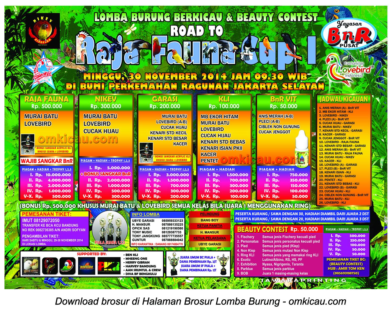 Brosur revisi Lomba Burung Berkicau Road to Raja Fauna Cup, Jakarta, 30 November 2014