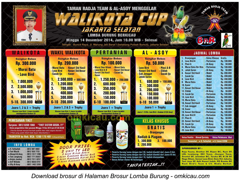 Brosur Revisi Lomba Burung Berkicau Wali Kota Cup, Jakarta Selatan-, 14 Desember 2014