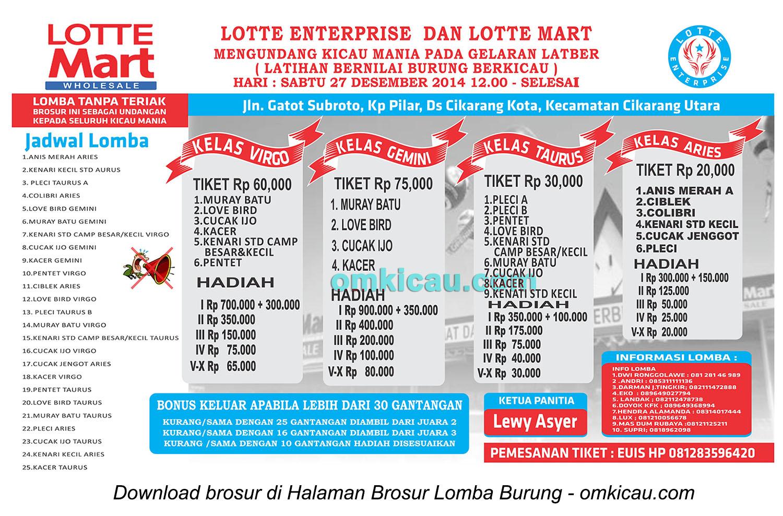Brosur Latber Lotte Enterprise, Bekasi, 27 Desember 2014