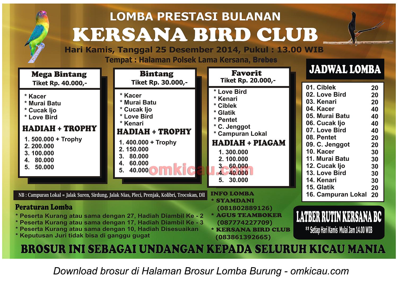 Brosur Latpres Bulanan Kersana BC, Brebes, 25 Desember 2014