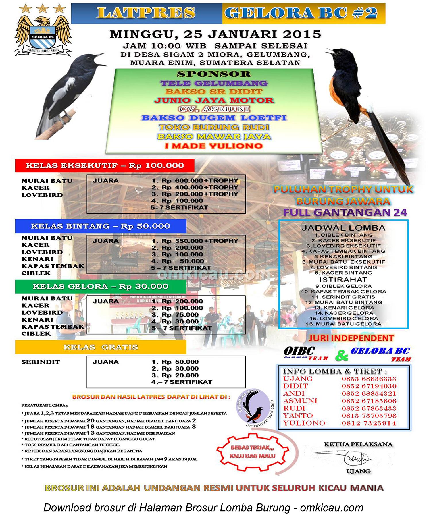 Brosur Latpres Burung Berkicau Gelora BC #2, Muara Enim, 25 Januari 2015