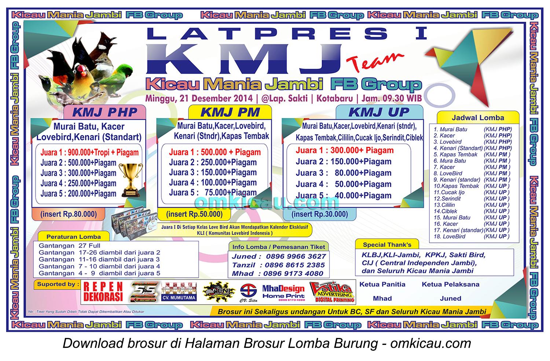 Brosur Latpres Burung Berkicau KMJ Team, Jambi, 21 Desember 2014