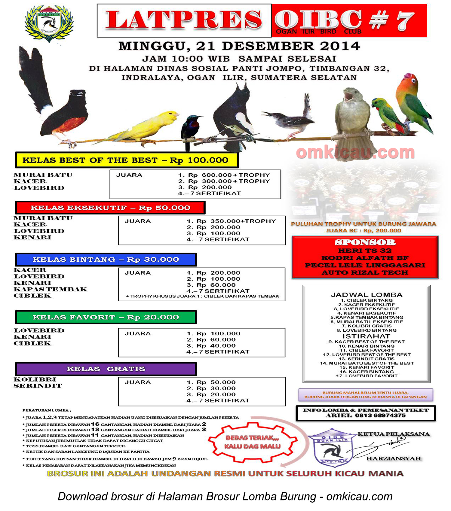 Brosur Latpres Burung Berkicau OIBC #7, Ogan Ilir, 21 Desember 2014