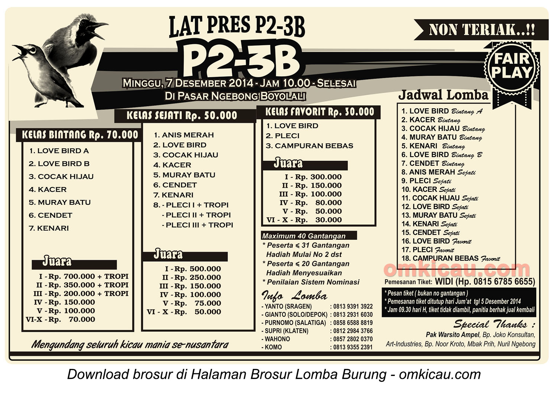 Brosur Latpres Burung Berkicau P2-3B, Boyolali, 7 Desember 2014
