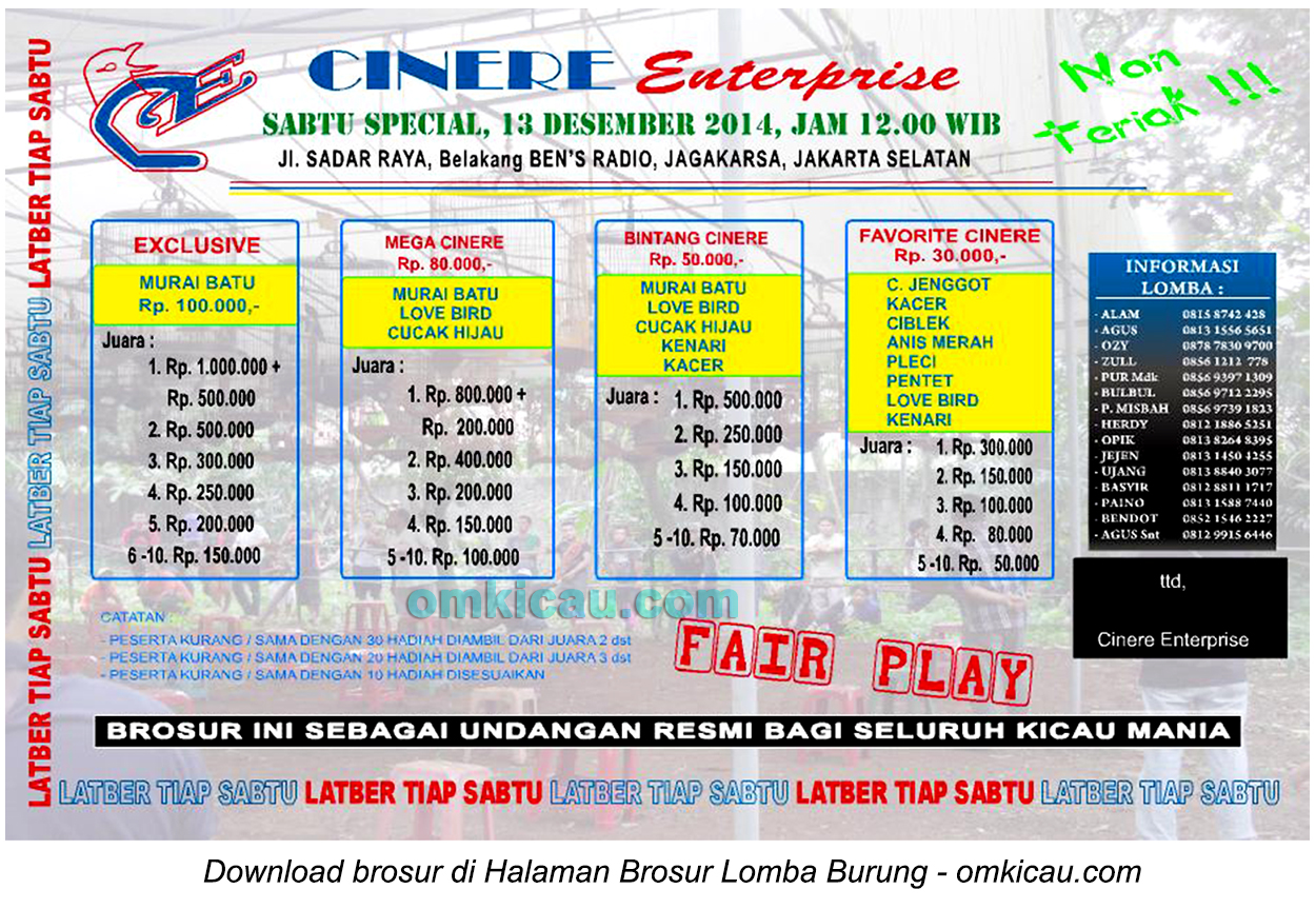 Brosur Latpres Cinere Enterprise, Jakarta, 13 Desember 2014