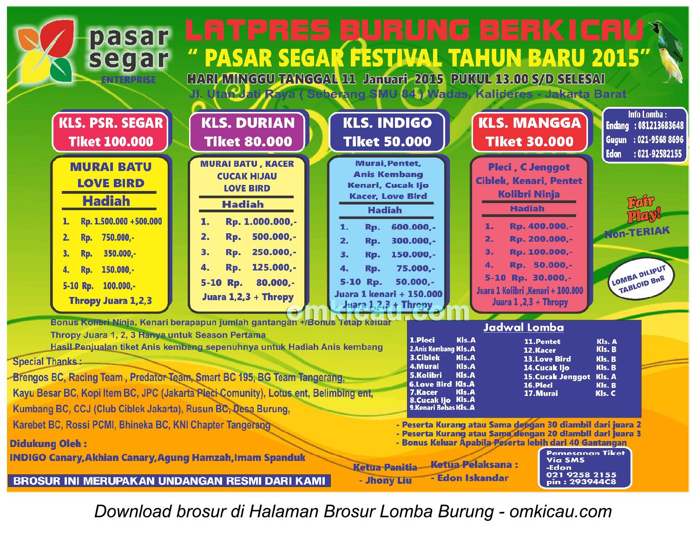 Brosur Latpres Pasar Segar Festival Tahun Baru 2015, Jakarta Barat, 11 Januari 2015