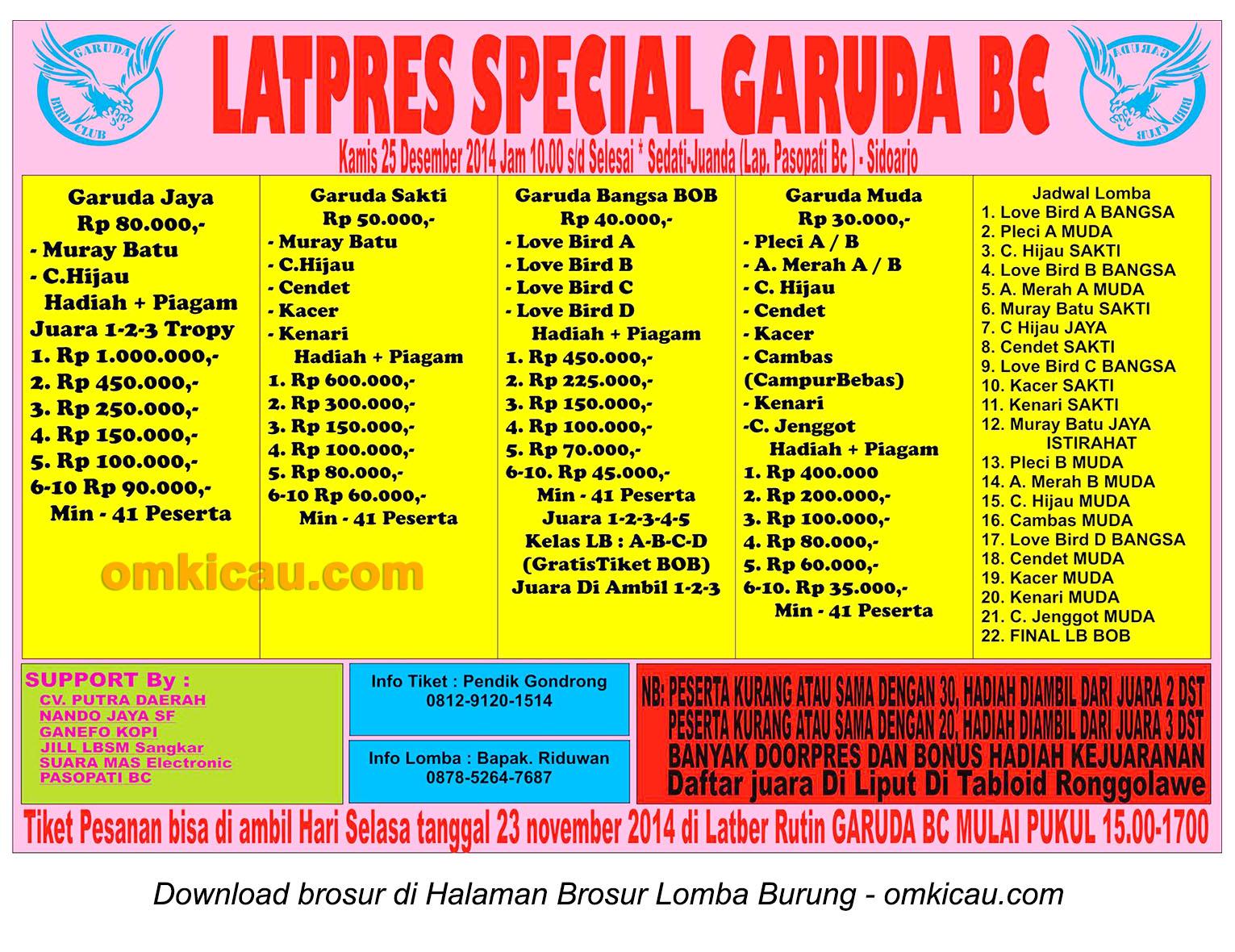 Brosur Latpres Spesial Garuda BC, Sidoarjo, 25 Desember 2014