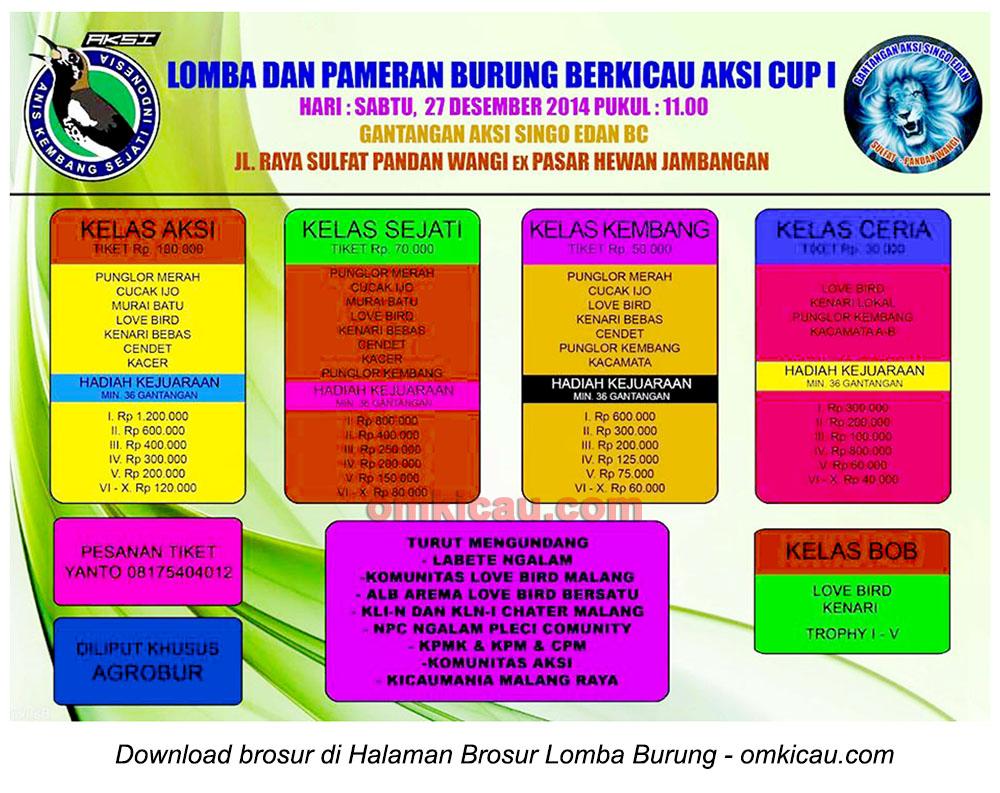 Brosur Lomba Burung Berkicau Aksi Cup I, Malang, 27 Desember 2014