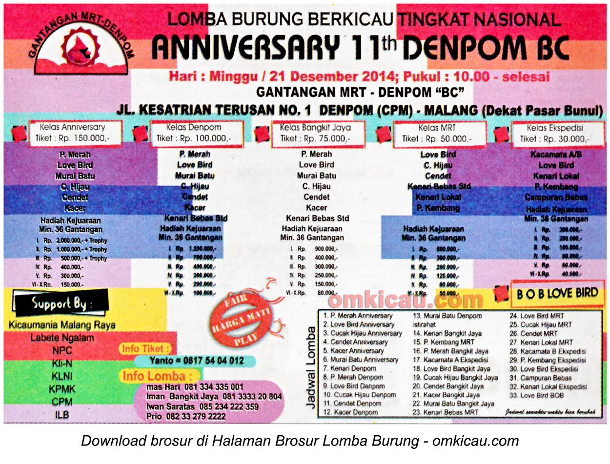 Brosur Lomba Burung Berkicau Anniversary 11th Denpom BC, Malang, 21 Desember 2014