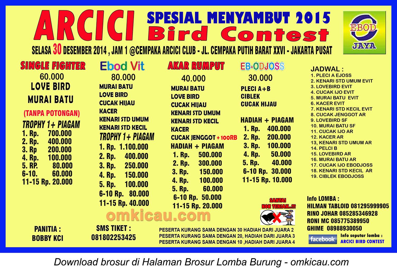 Brosur Lomba Burung Berkicau Arcici Special, Jakarta, 30 Desember 2014