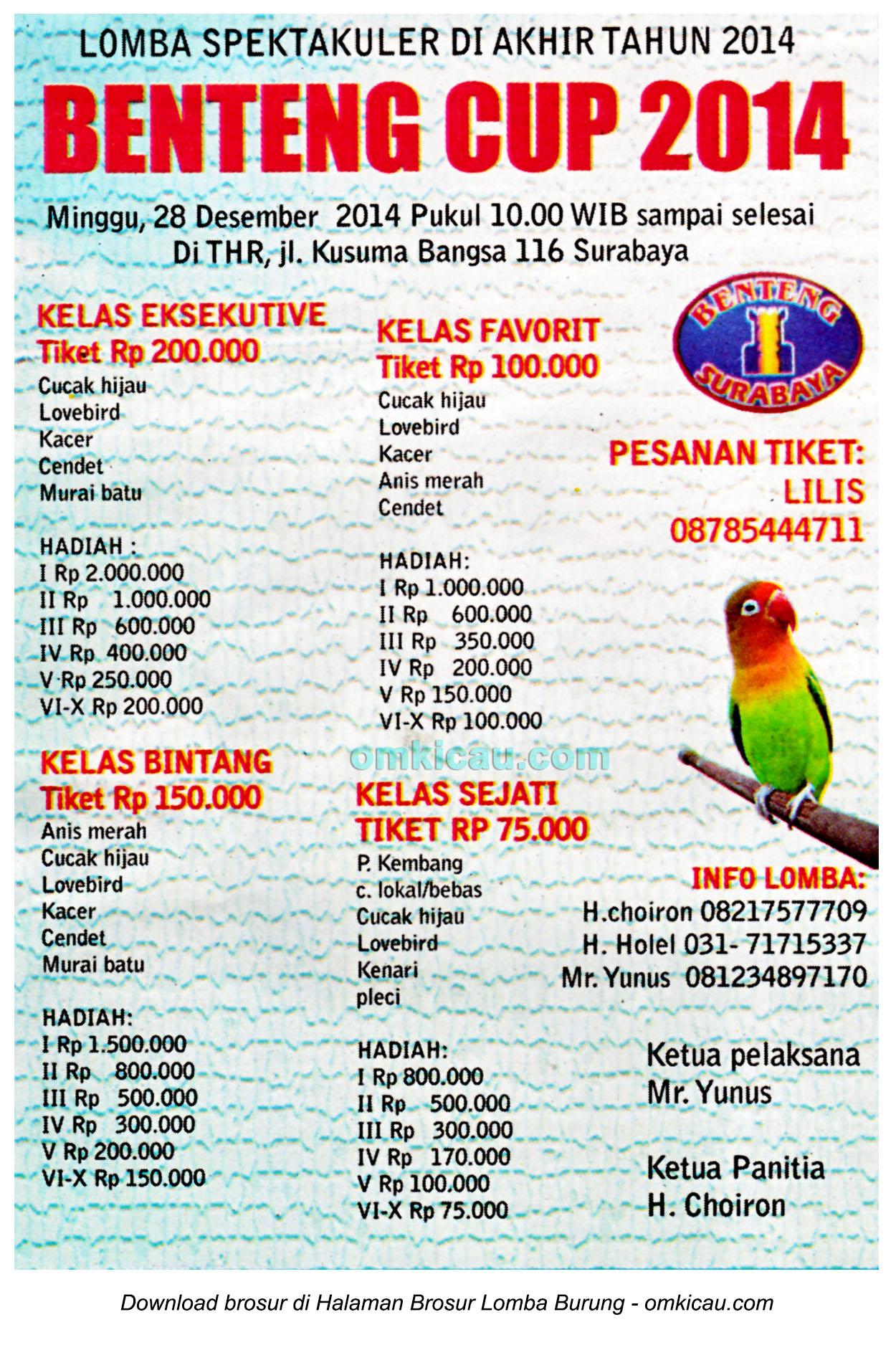 Brosur Lomba Burung Berkicau Benteng Cup, Surabaya, 28 Desember 2014