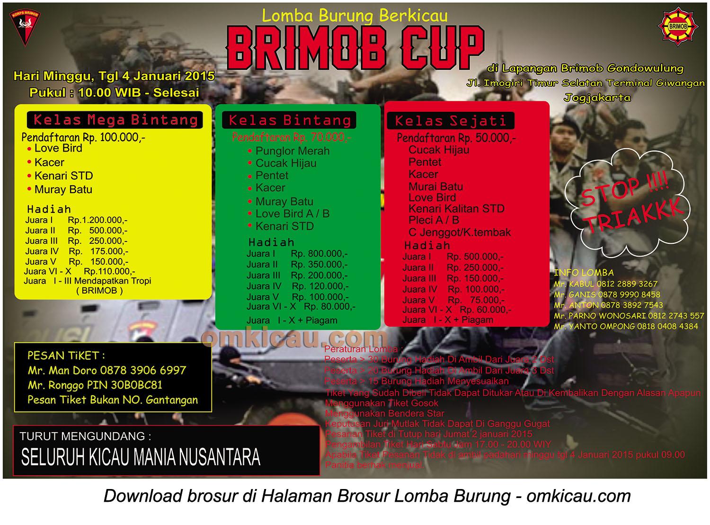 Brosur Lomba Burung Berkicau Brimob Cup, Jogja, 4 Januari 2015