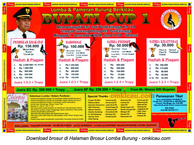 Brosur Lomba Burung Berkicau Bupati Cup I, Purbalingga, 21 Desember 2014