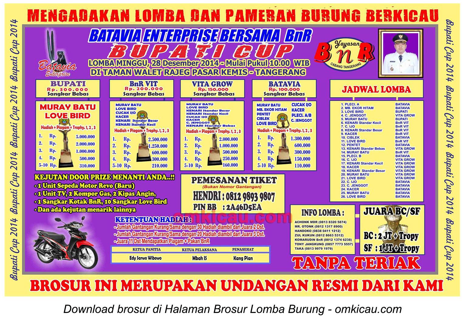 Brosur Lomba Burung Berkicau Bupati Cup, Tangerang, 28 Desember 2014