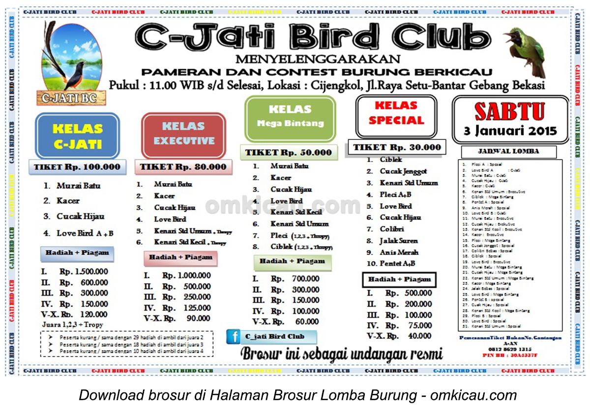 Brosur Lomba Burung Berkicau C-Jati Bird Club, Bekasi, 3 Januari 2015