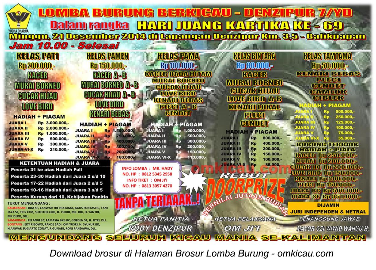 Brosur Lomba Burung Berkicau Denzipur 7-YD, Balikpapan, 21 Desember 2014