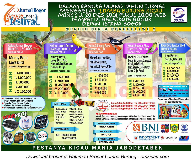 Brosur Lomba Burung Berkicau Festival HUT 7 Jurnal Bogor, 28 Desember 2014