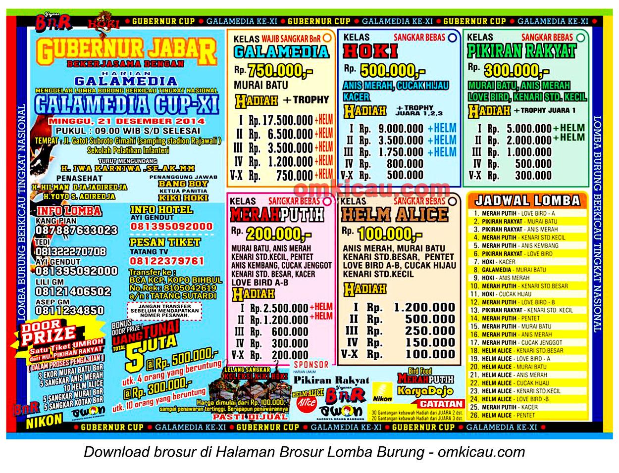 Brosur Lomba Burung Berkicau Galamedia Cup XI, Cimahi, 21 Desember 2014