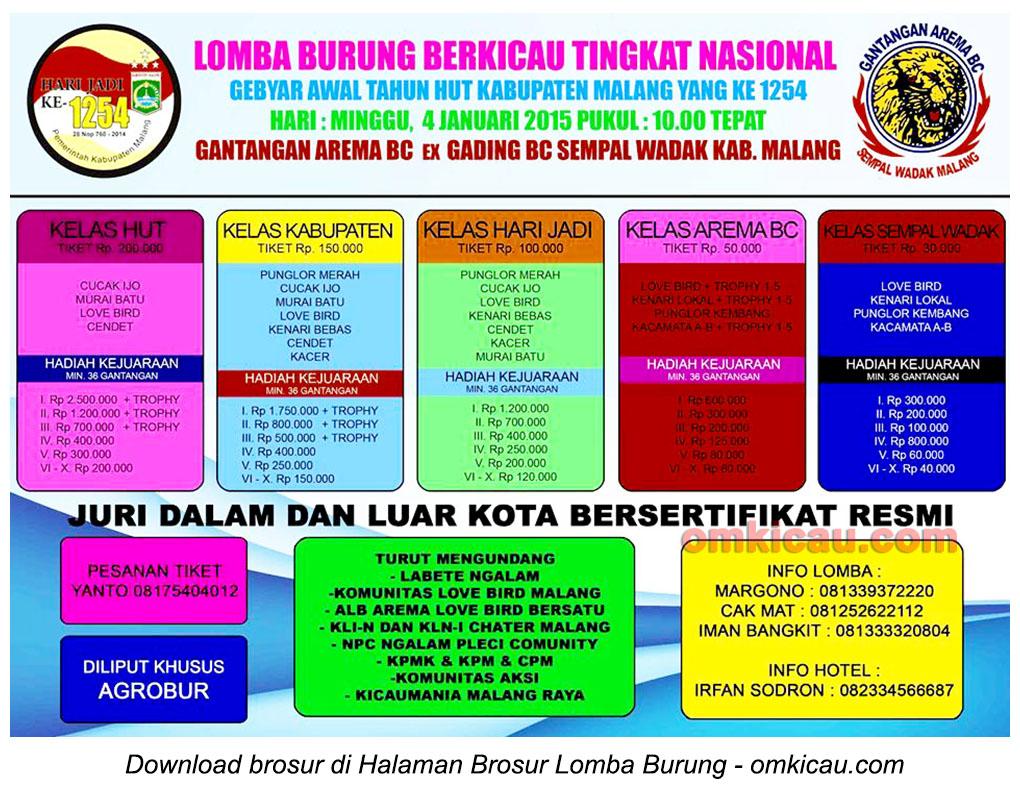 Brosur Lomba Burung Berkicau Gebyar Awal Tahun HUT Kabupaten Malang, 4 Januari 2015