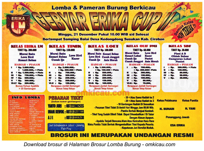 Brosur Lomba Burung Berkicau Gebyar Erika Cup II, Cirebon, 21 Desember 2014