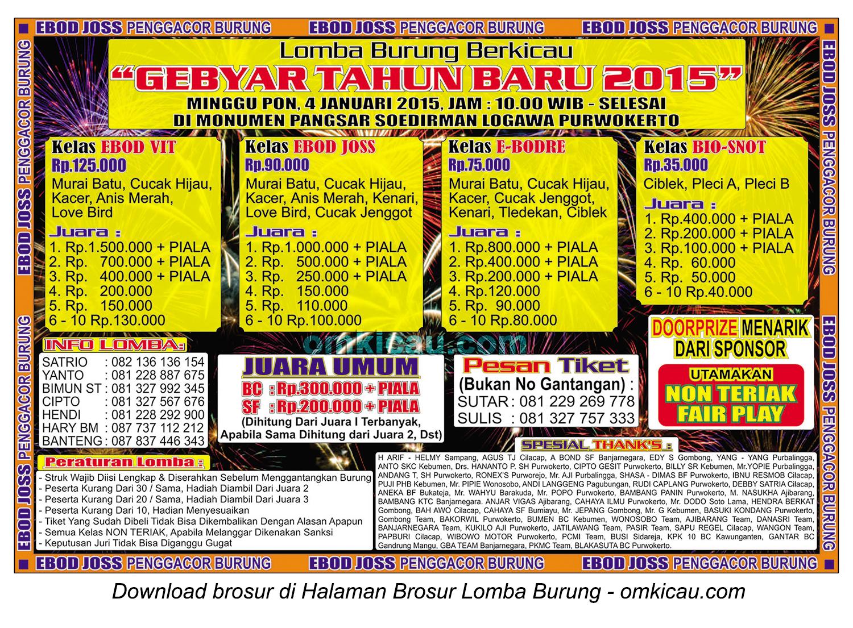 Brosur Lomba Burung Berkicau Gebyar Tahun Baru 2015, Purwokerto, 4 Januari 2015