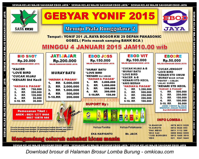 Brosur Lomba Burung Berkicau Gebyar Yonif 2015, Jakarta Timur, 4 Januari 2015