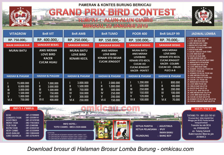 Brosur Lomba Burung Berkicau Grand Prix Bird Contest, Ciamis, 25 Januari 2015