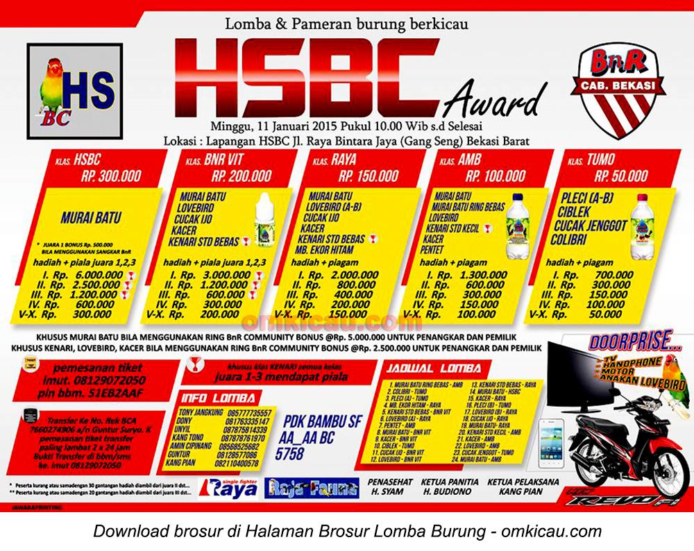 Brosur Lomba Burung Berkicau HSBC Award, Bekasi Barat, 11 Januari 2015