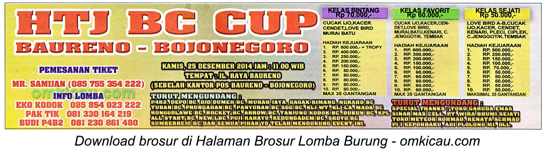 Brosur Lomba Burung Berkicau HTJ BC Cup, Bojonegoro, 25 Desember 2014