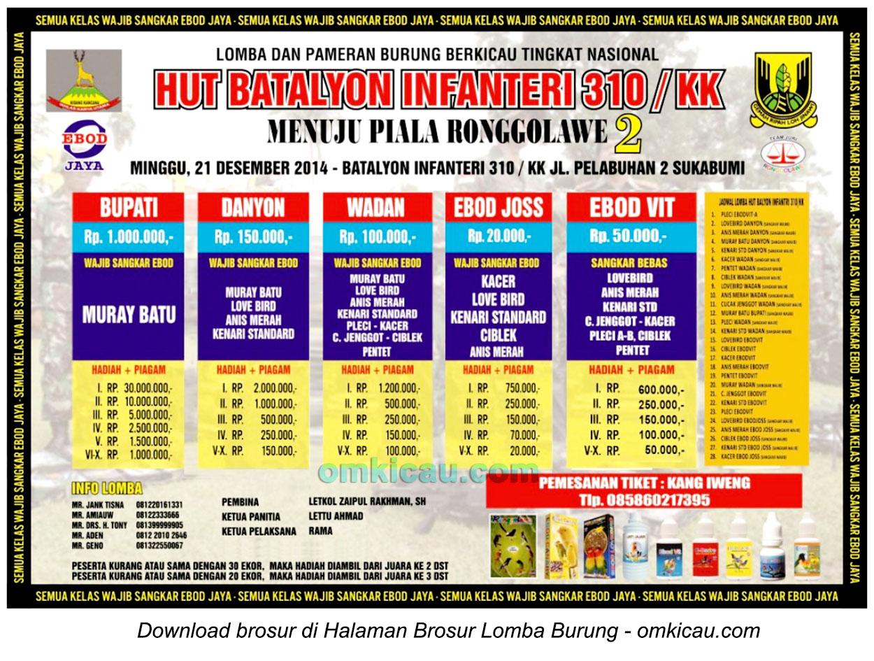 Brosur Lomba Burung Berkicau HUT Batalyon Infanteri 310 KK, Sukabumi, 21 Desember 2014