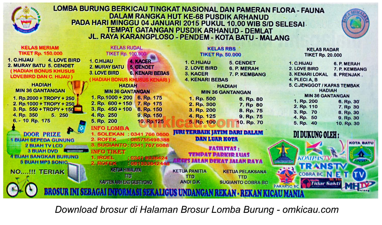 Brosur Lomba Burung Berkicau HUT Ke-68 Pusdik Arhanud, Malang, 4 Januari 2015