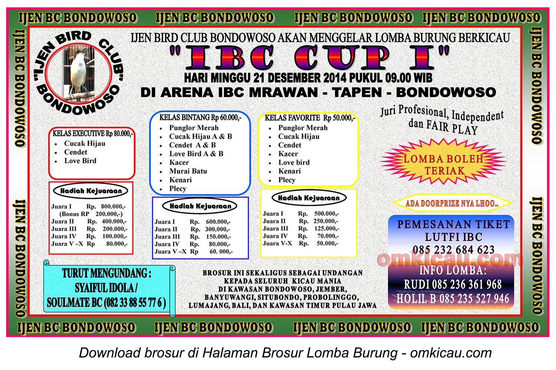 Brosur Lomba Burung Berkicau IBC Cup I, Bondowoso, 21 Desember 2014