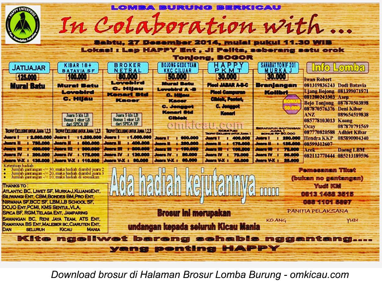 Brosur Lomba Burung Berkicau In Colaboration With, Bogor, 27 Desember 2014