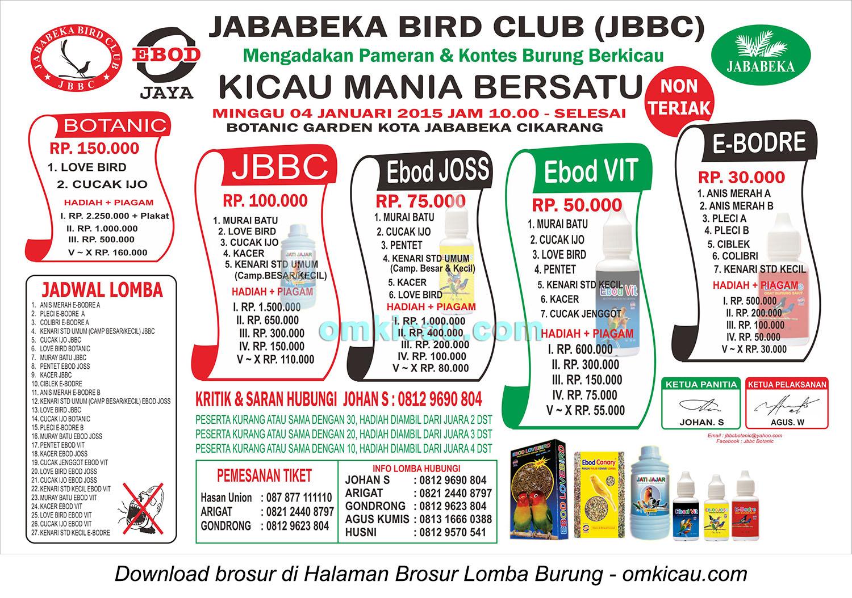 Brosur Lomba Burung Berkicau Jababeka BC, Bekasi, 4 Januari 2015