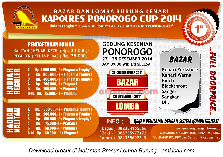Brosur Lomba Burung Berkicau Kapolres Ponorogo Cup, 27-28 Desember 2014
