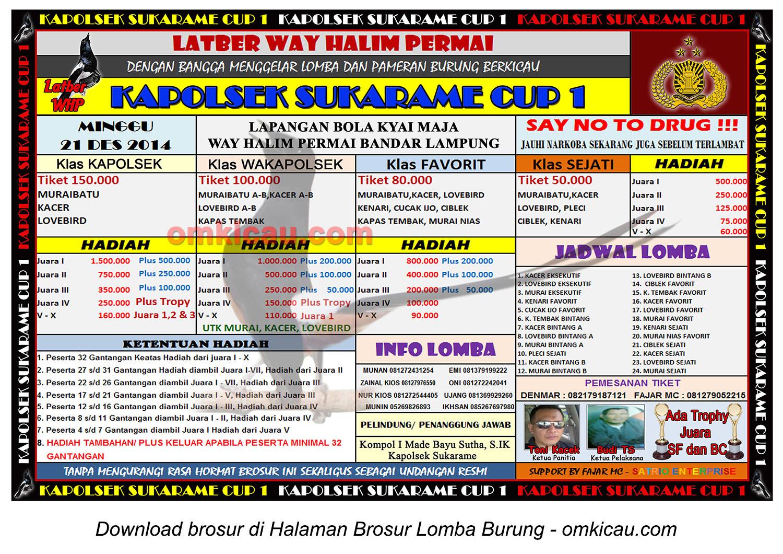 Brosur Lomba Burung Berkicau Kapolsek Sukarame Cup 1, Bandarlampung, 21 Desember 2014