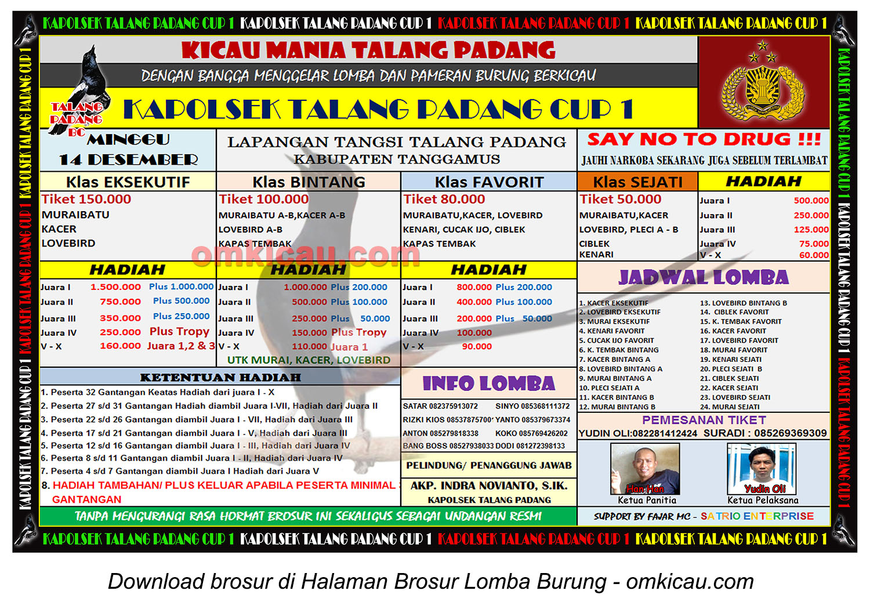 Brosur Lomba Burung Berkicau Kapolsek Talang Padang Cup 1, Tanggamus, 14 Desember 2014