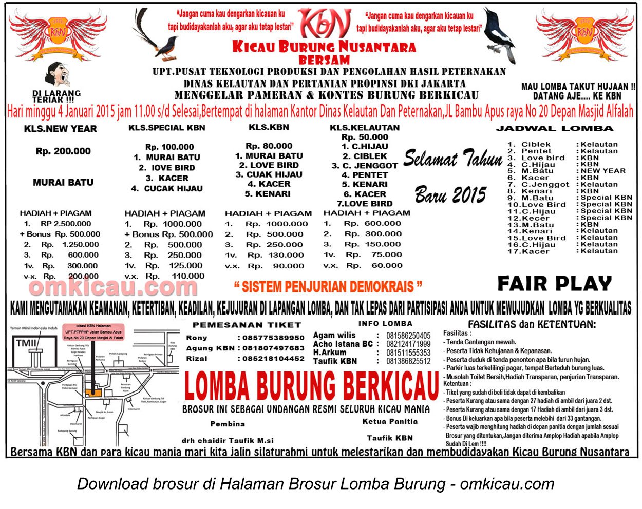 Brosur Lomba Burung Berkicau KBN, Jakarta, 4 Januari 2015