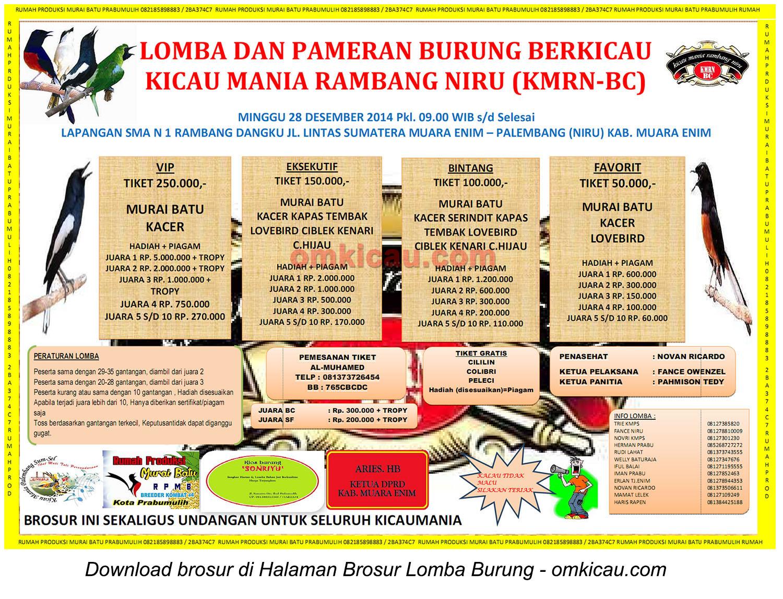 Brosur Lomba Burung Berkicau KMRN-BC, Muara Enim, 28 Desember 2014