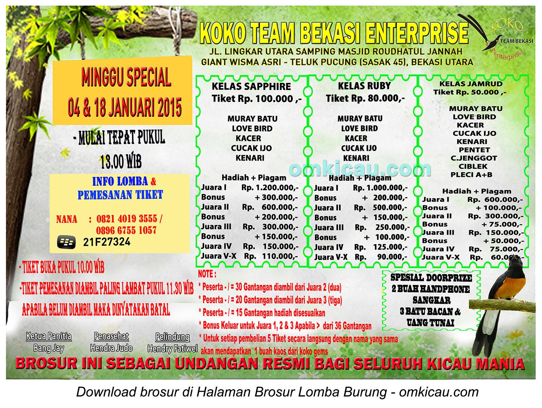 Brosur Lomba Burung Berkicau Koko Team Enterprise, Bekasi, 4-18 Januari 2015