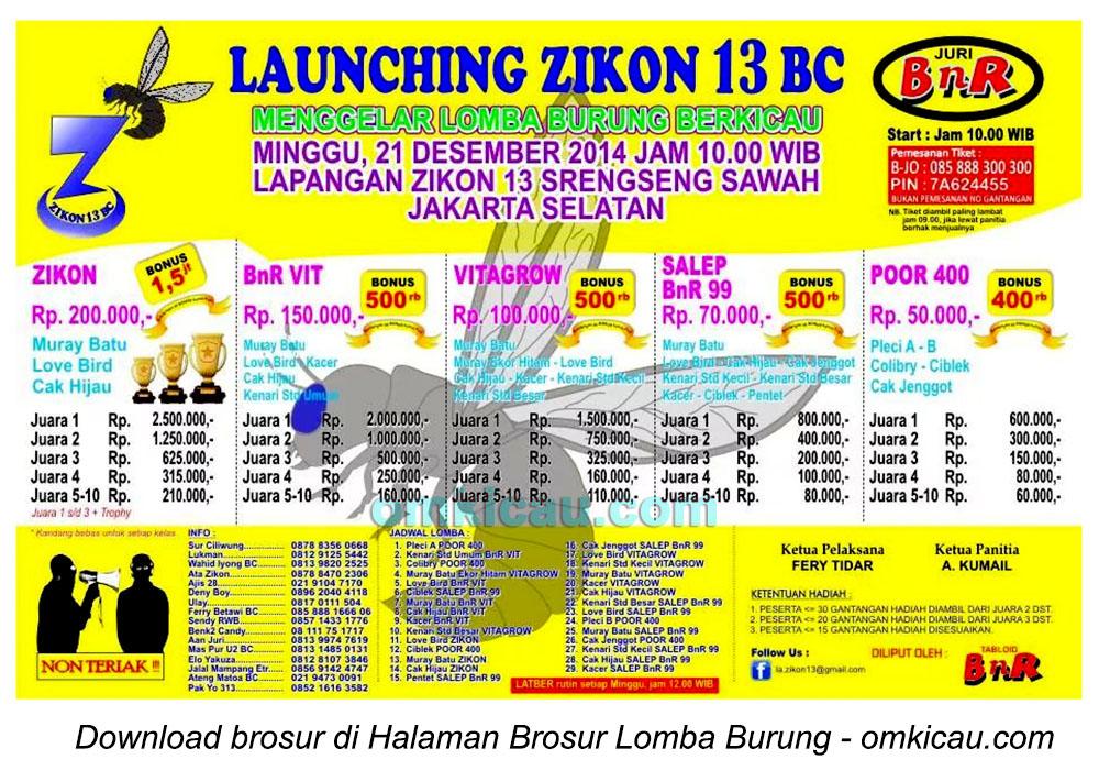 Brosur Lomba Burung Berkicau Launching Zikon 13 BC, Jakarta Selatan, 21 Desember 2014