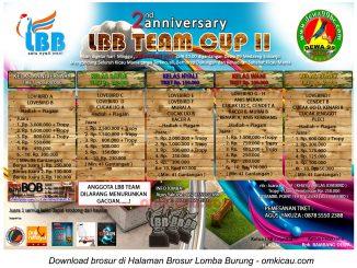 Brosur Lomba Burung Berkicau LBB Team Cup II, Sidoarjo, 18 Januari 2014