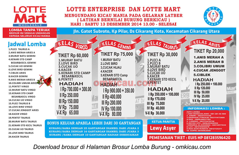 Brosur Lomba Burung Berkicau Lotte Mart, Bekasi, 13 Desember 2014