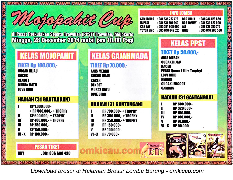 Brosur Lomba Burung Berkicau Mojopahit Cup, Mojokerto, 28 Desember 2014