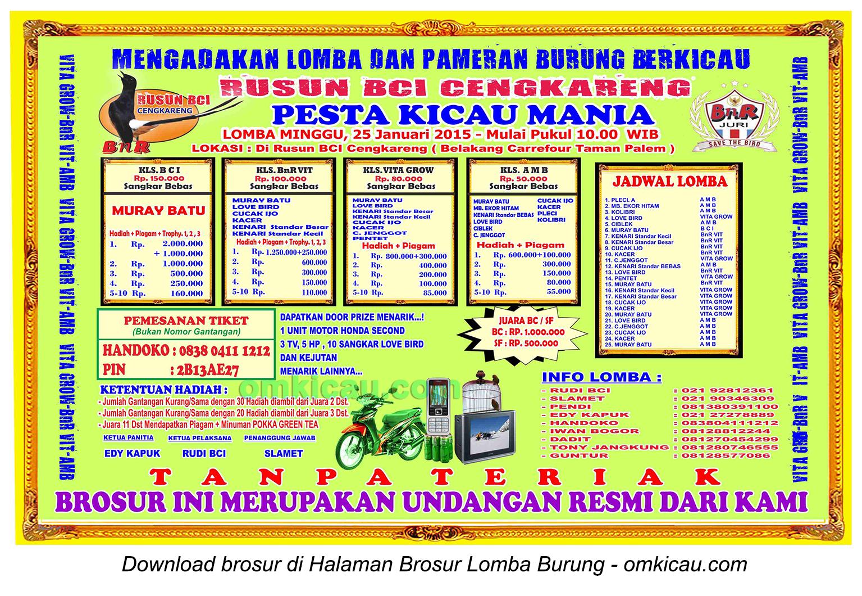 Brosur Lomba Burung Berkicau Pesta Kicaumania Rusun BCI Cengkareng, Jakbar, 25 Januari 2015