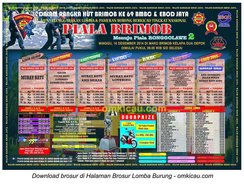 Brosur Lomba Burung Berkicau Piala Brimob, Depok, 14 Desember 2014