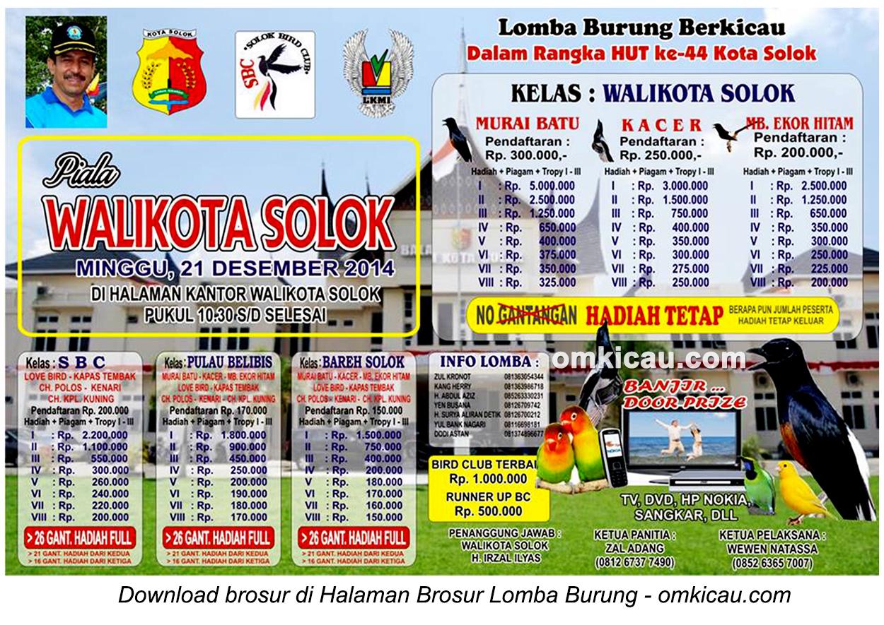 Brosur Lomba Burung Berkicau Piala Wali Kota Solok, 21 Desember 2014