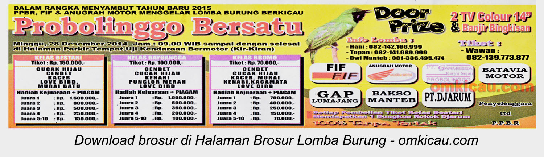 Brosur Lomba Burung Berkicau Probolinggo Bersatu, Probolinggo, 28 Desember 2014