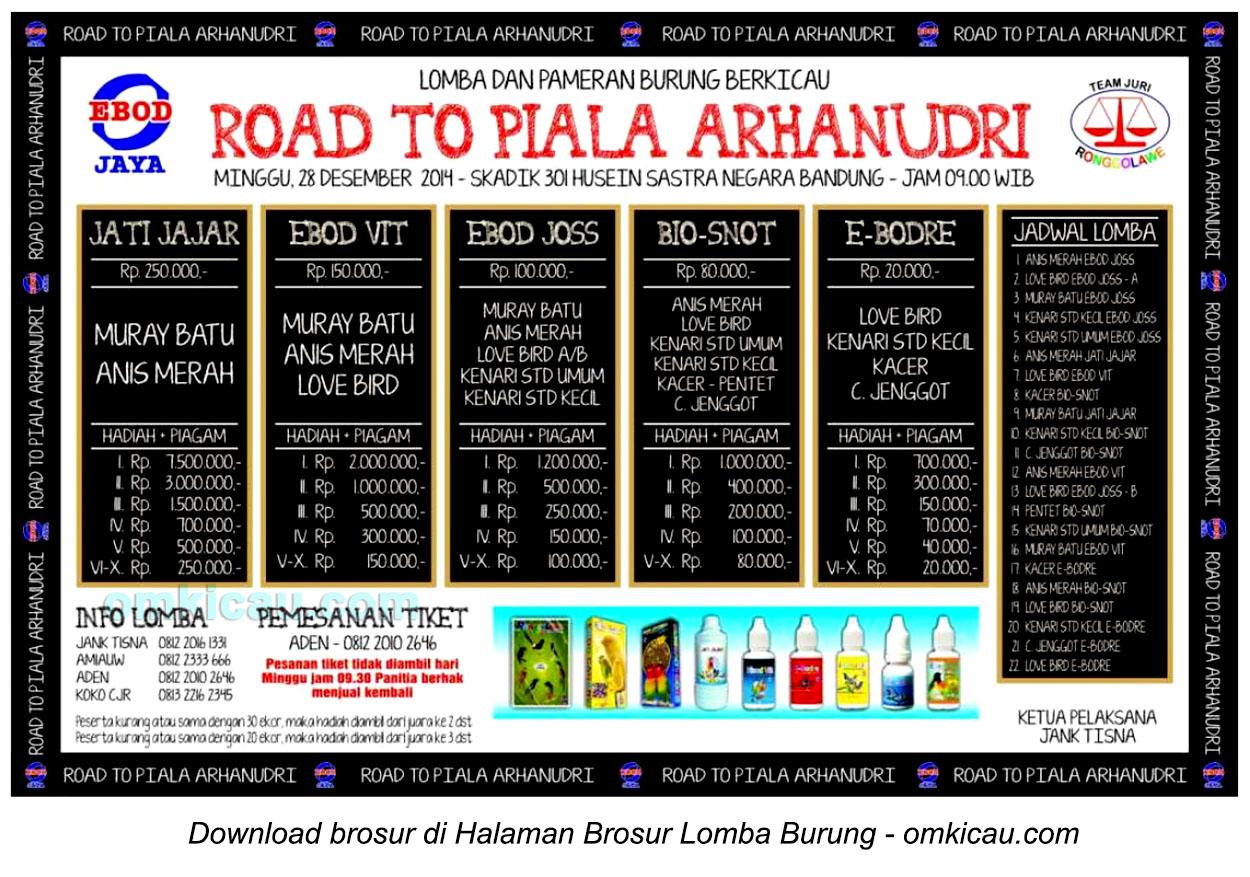Brosur Lomba Burung Berkicau Road to Piala Arhanudri, Bandung, 28 Desember 2014